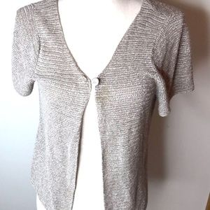 Eileen Fisher Taupe Open Knit Cardigan
